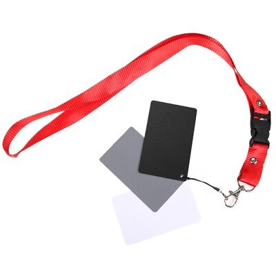 3in1 White Balance Card Set 18% Grey Gray Card With Lanyard For Video Camcorder • 3£