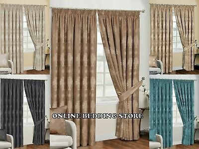 £76 • Buy Fully Lined Pencil Pleat Luxury Jacquard Ready-Made Virginia Curtain (Pair)