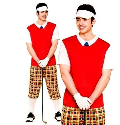 Adult FUNNY PUB GOLFER Crazy Golfer Sports Party Fancy Dress Costume Mens Male • 14.85£
