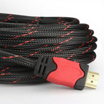AU6.51 • Buy Braided HDMI V1.4 Cable 1080P@60Hz HDTV Video Lead 3D Full HD 4K 1M 2M 3M 5M 10M