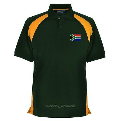 South Africa African Embroidered Polo Shirt Clothing Rugby Sports Cricket Green • 12.99£