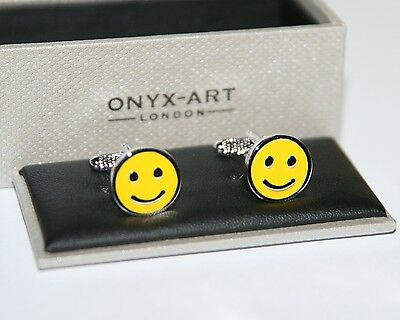 Novelty Cufflinks - Smile Yellow Happy Face Design * New * Boxed Gift • 17.49£