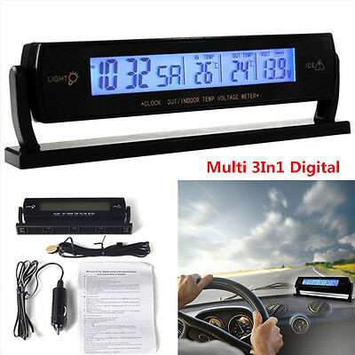 £13.89 • Buy Multi 3In1 Digital Battery Alarm TIME + Thermometer + Car Voltage LED Backlight