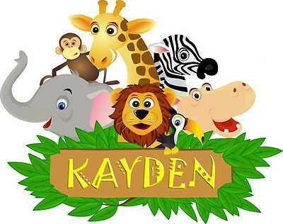 £4.49 • Buy Jungle Animal Childrens Bedroom Wall Sticker With Name Of Choice