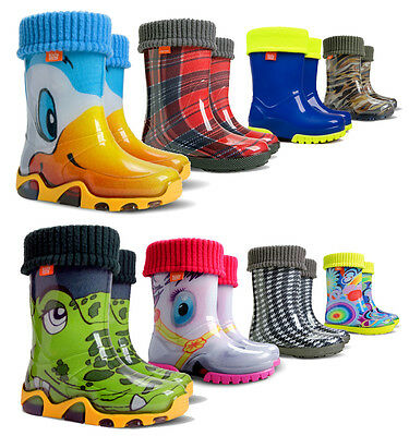 Wellies Rain Kids Baby Wellington Waterproof Snow Boots Lining Socks Children • 9.99£
