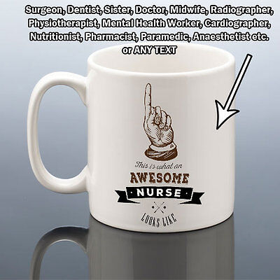 AWESOME NURSE MUG DOCTOR MIDWIFE DENTIST CUP Work Birthday Gift New Job Him Her • 10.49£