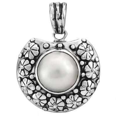 $32.95 • Buy 1 9/16  WHITE MABE PEARL 925 STERLING SILVER Pendant