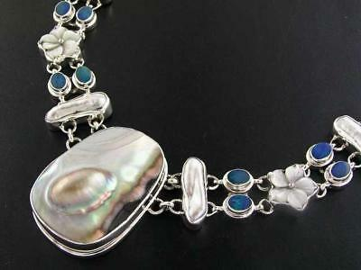 $221.95 • Buy 1 3/4  MABE BIWA PEARL NATURAL OPAL 925 STERLING SILVER Necklace