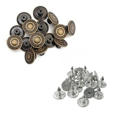 10pcs 17mm Replacement Hammer On Jeans Buttons Denim Brass Studs Jacket Trousers • 2.09£