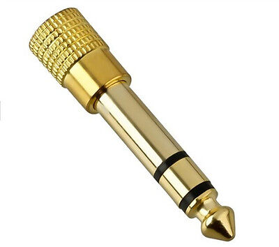 3.5mm To 6.35mm Gold Headphone Jack Plug Audio Adaptor • 2.10£