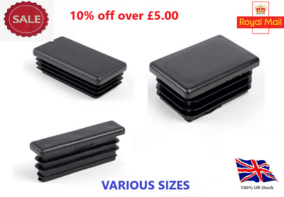 Rectangle Plastic Black Blanking End Cap Caps Tube Pipe Inserts Plug Bung Steel • 1.21£