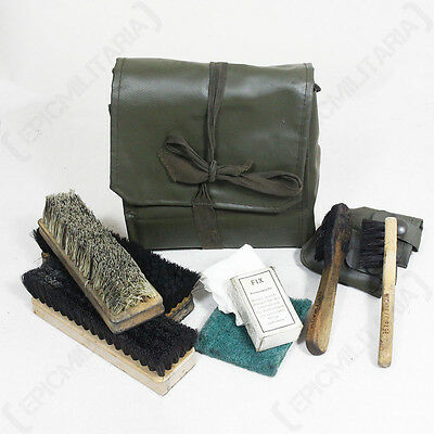 ORIGINAL SWISS BOOT CLEANING KIT - Issued Army Military Surplus Shoe Travel Bag • 10.25£