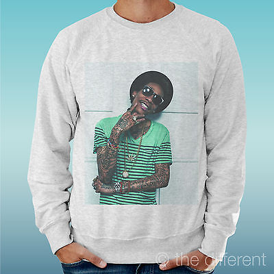 Men's Sweatshirt Light Sweater Light Grey Grey   Wiz Khalifa Music Rap Hip Hop   • 26.64£