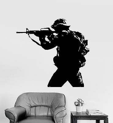 $68.99 • Buy Vinyl Wall Decal Soldier Weapon Military War Stickers Mural (ig4096)