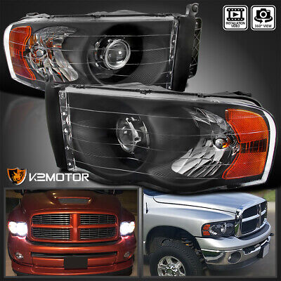 $113.41 • Buy For 2002-2005 Dodge Ram 1500 03-05 Ram 2500 3500 Black Projector Headlights