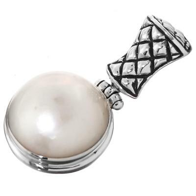 $28.95 • Buy 1 1/8  WHITE MABE PEARL 925 STERLING SILVER Pendant