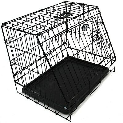 """£33.99 • Buy Small 24"""" Sloping Folding Car Dog Puppy Pet Crate Hatchback Cage Travel 571"""