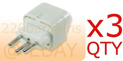 3PK Switzerland Travel Adapter Plug Type J Swiss Electrical Outlet 3 Prong White • 4.59£