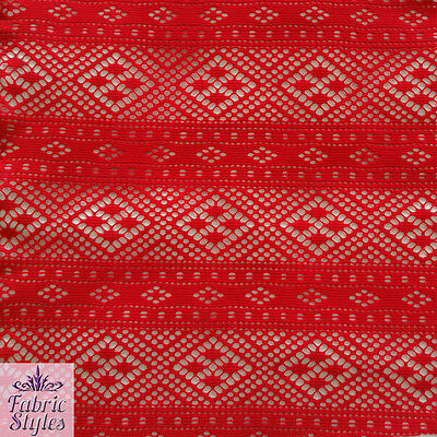 FS084 Red Crochet Design Jersey Fabric Fishnet High Quality In Red  • 5.75£
