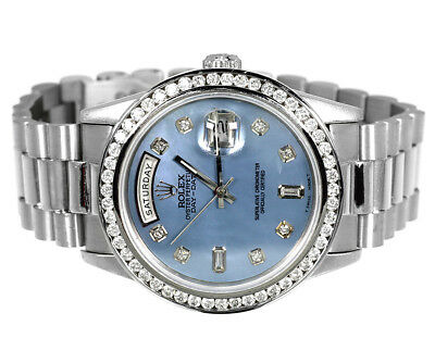 $ CDN24242.10 • Buy Pre-Owned Mens Rolex President Day-Date 18k White Gold Diamond Watch 3 Ct 18239