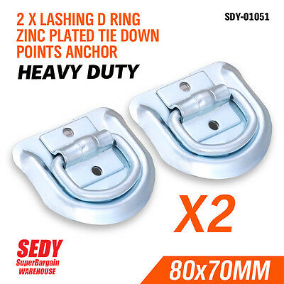 AU9.99 • Buy 2x LASHING D RING ZINC PLATED TIE DOWN POINTS ANCHOR UTE TRAILER 80X70MM