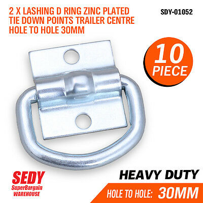 AU28.50 • Buy 10x Lashing D Ring Zinc Plated Tie Down Points Trailer Centre Hole Anchor 01052