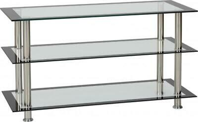 Armani Silver Black Glass TV Television Unit Stand Shelf Display Stand Home • 59.99£