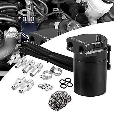 $23.28 • Buy Oil Catch Can Kit Reservoir Tank Engine Black Polish Baffled Universal Aluminum
