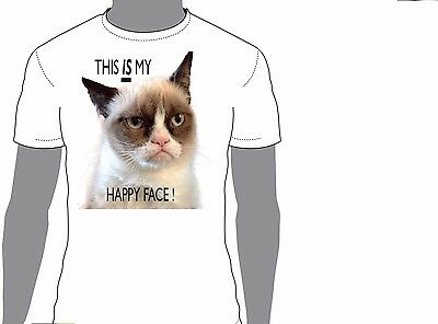 £9.99 • Buy Grumpy Cat This Is My Happy Face ....,birthday,gift,funny.animal,T-shirt 213