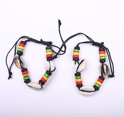 $5.99 • Buy 2PC Rasta Shell Stripe Beaded Band Bracelet Wrist Bracelet