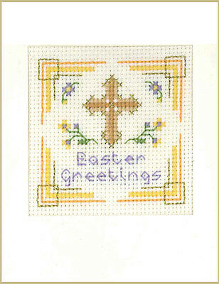 Easter Cross Card  - A Complete Cross Stitch Card Kit On 16 Aida & COLOUR Chart • 6.95£