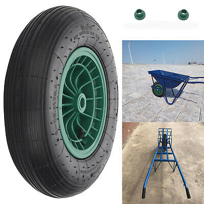 14  Black Wheelbarrow Wheel Pneumatic Inflatable Tyre Rubber With Axle Fittings • 10.99£
