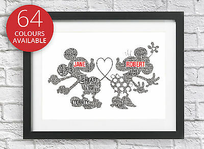 £5.45 • Buy Personalised Disney Mickey Minnie Mouse Word Art Gift Wedding Engagement Couples