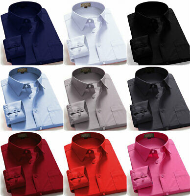 $14.49 • Buy Dress Shirts Men's Regular Fit Oxford Long Sleeve Solid Color Shirt Many Colors