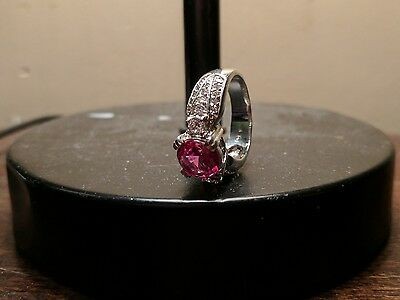 $50 • Buy CHARLES WINSTON Large PINK CZ STERLING SILVER 925 STATEMENT RING SZ 7
