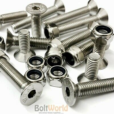 M10, A4 Stainless Steel Countersunk Csk Socket Allen Bolts Nyloc Nuts Screws Hex • 8.81£