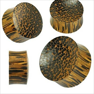 $5.80 • Buy 1 PAIR Ear Plugs Gauges Brown Palm Wood Double Flare Saddle Organic Natural