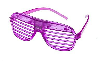 Purple Flashing LED Shutter Glasses Light Up Rave Slotted Party Glow Shades UK • 5.49£