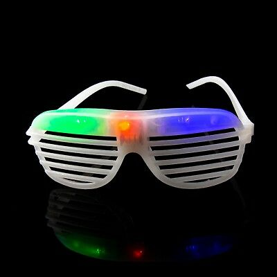 White Flashing LED Shutter Glasses Light Up Rave Slotted Party Glow Shades Fun • 5.49£