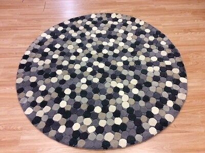 Round STONE PEBBLED GREY CREAM Circular Handmade CHUNKY Wool Rugs M - XL -50%OFF • 149.99£