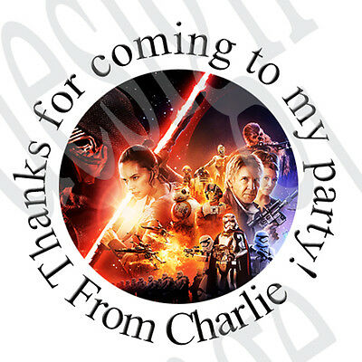 £1.30 • Buy 35x Personalised STAR WARS Inspired Round Labels Stickers Party Bag Cones Seals