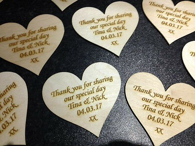 Personalised Engraved Wooden Hearts Wedding Favours Table Decorations • 1.99£