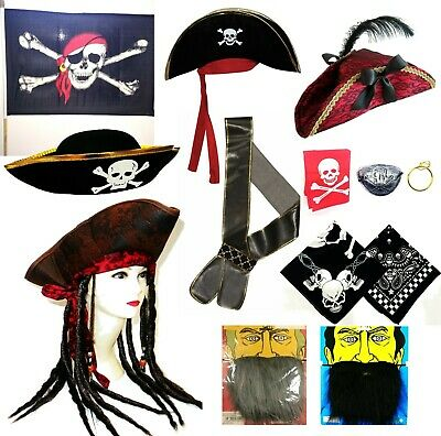 Pirate Accessories Fancy Dress Hat Sword Beard Flag Eye Patch Book Covers Sash • 6.99£