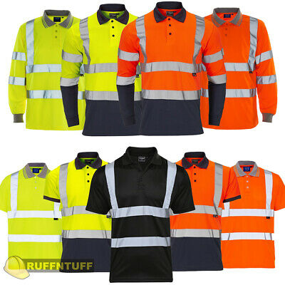 £9.99 • Buy Hi Vis Viz Polo T Shirt High Visibility Safety Security Work Top | Two 2 Tone