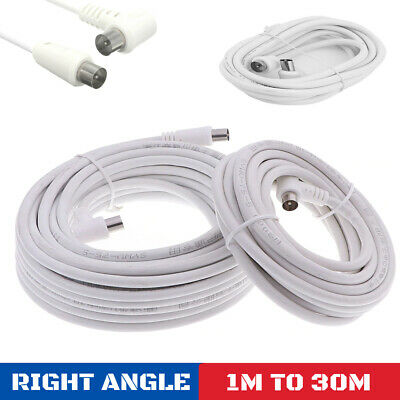 £3.29 • Buy AERIAL LEAD 3m To 30m COAX RF FLY CABLE MALE TO MALE TV RIGHT ANGLE BENT HOOKED