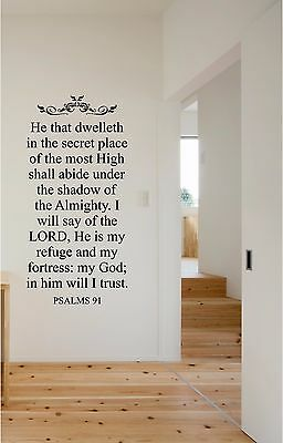 £18.17 • Buy He That Dwelleth Psalms 91 Wall Sticker Wall Lettering Vinyl Decals Christian