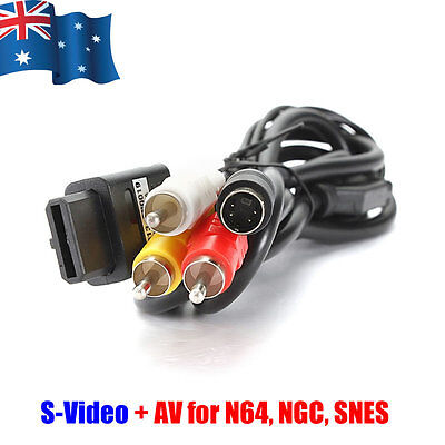 AU7.95 • Buy 1.8M AV S-Video Composite Cable Cord For Super Nintendo SNES GameCube NGC N64