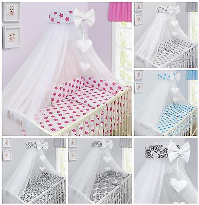 BEDDING SET BABY NURSERY COT COTBED PILLOW DUVET COVER BUMPER CANOPY 3/6/10/14Pc • 17.60£