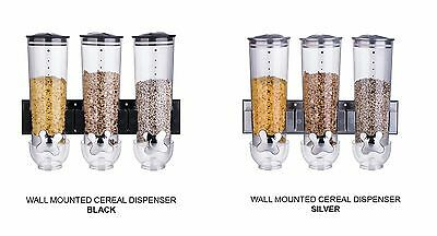 £16.49 • Buy Wall Mounted Triple Cereal Dispenser Dry Food Storage Container Black Silver New