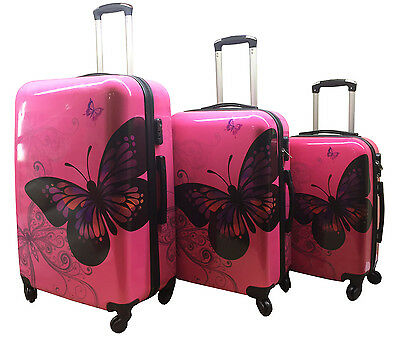 Hard Shell 4Wheel Suitcase PC Luggage Trolley Case Cabin Hand Butterfly Rose  • 35.99£